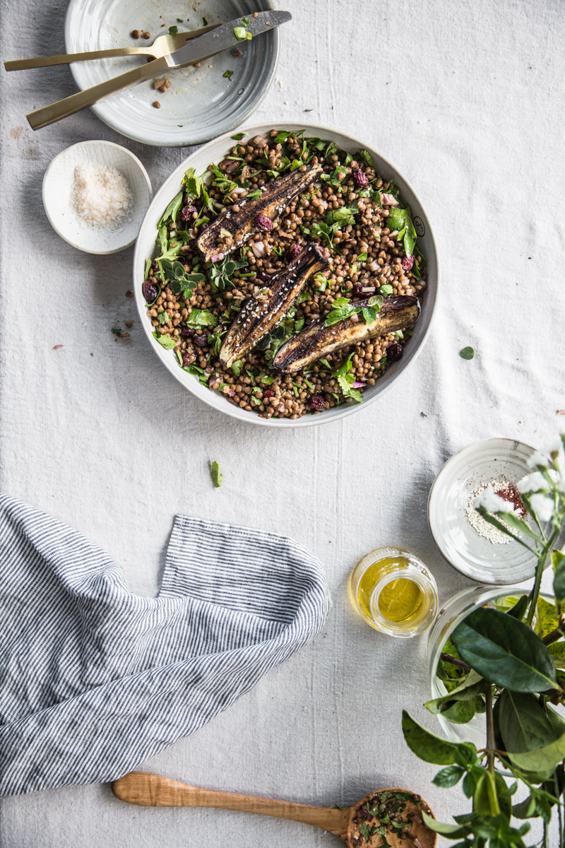 Sumac Roasted Eggplant, Lentil And Cherry Salad (vegan, glutenfree) - Cook Republic