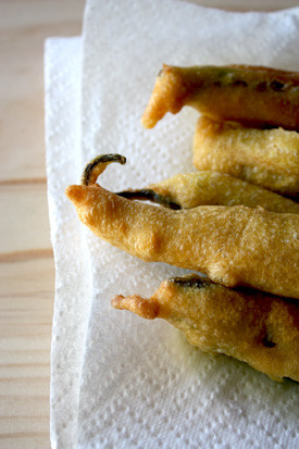 Hot Chillies dipped in Chickpea flour and deep fried.
