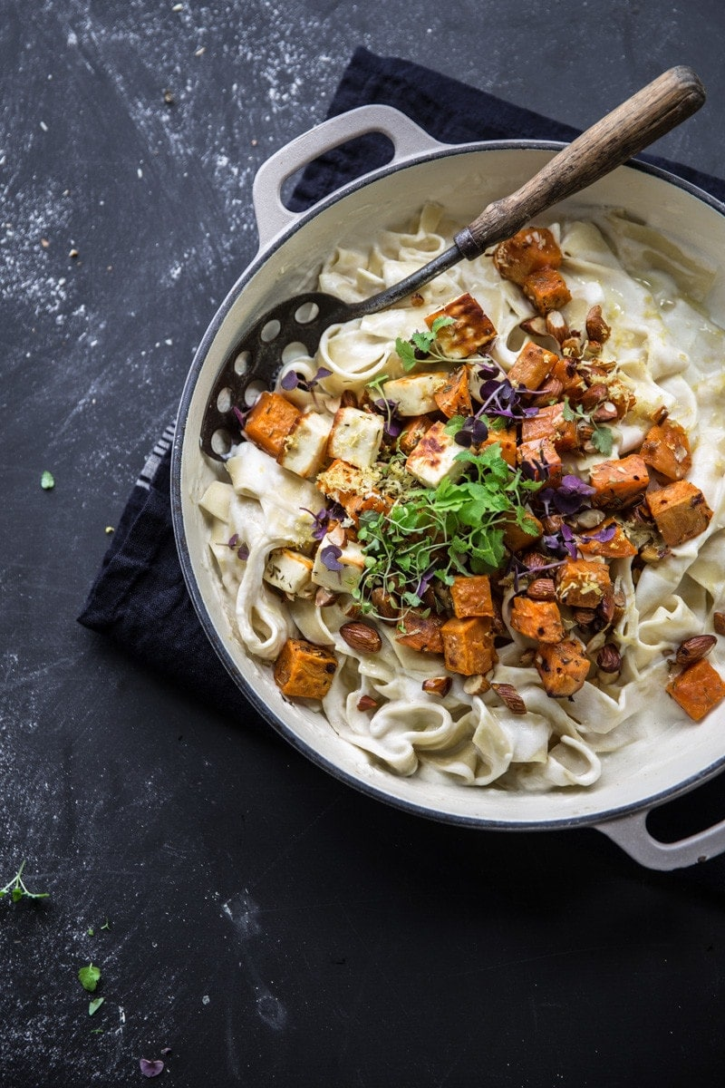 Creamy Sweet Potato And Halloumi Pasta - Cook Republic