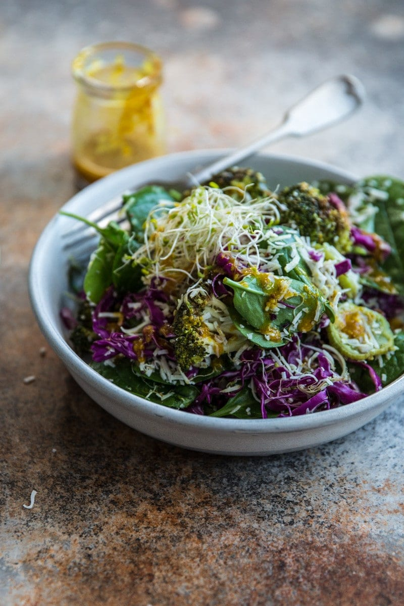 Roasted Broccoli And Coconut Salad With Turmeric Dressing