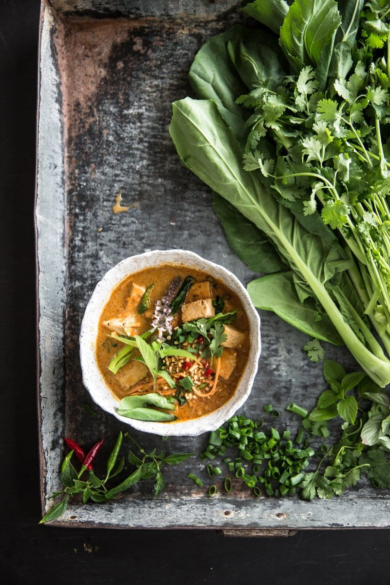 Thai Red Curry Soup With Sweet Potato Noodles - Cook Republic #vegan #glutenfree #plantbased