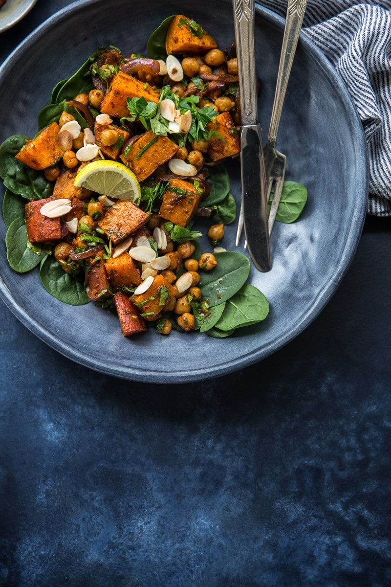 Roasted Sweet Potato Salad With Harissa Chickpeas - Cook Republic #vegan #glutenfree