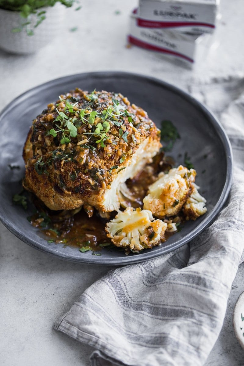 Butter Roasted Whole Cauliflower With Hot Garlic Sauce ...