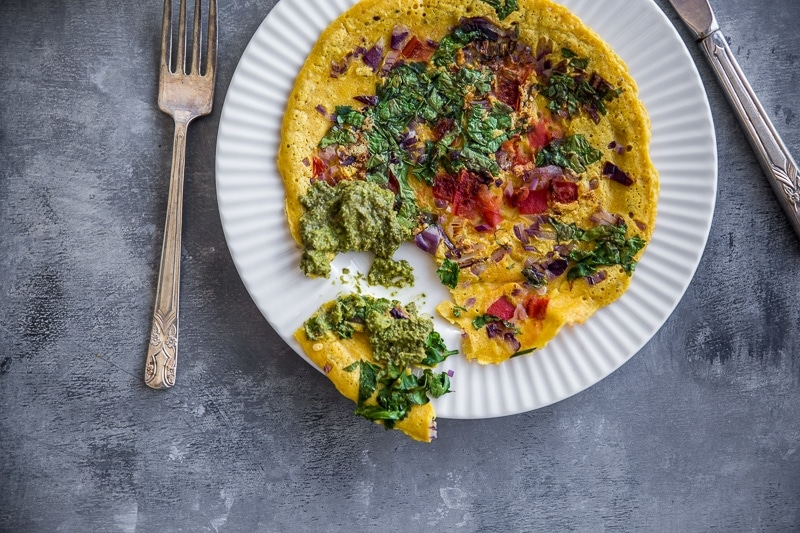 Vegan Chickpea Masala Omelette - Cook Republic #glutenfree #vegan