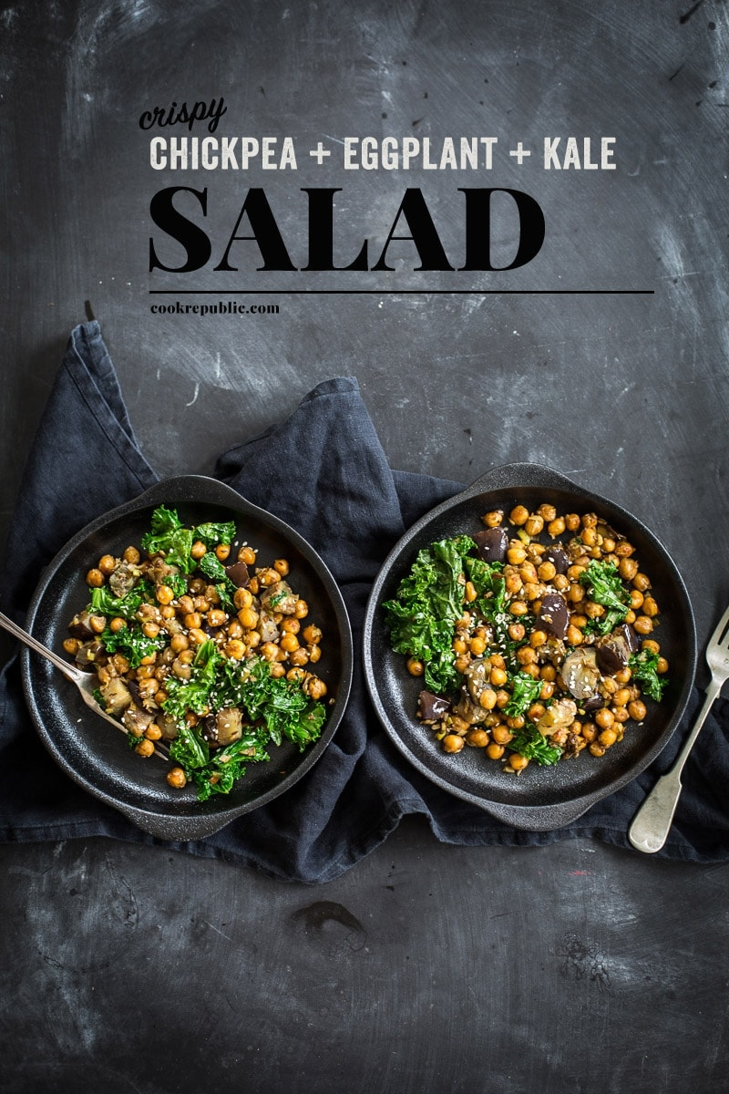 Nourishing Crispy Chickpeas Eggplant And Kale Salad - Cook Republic
