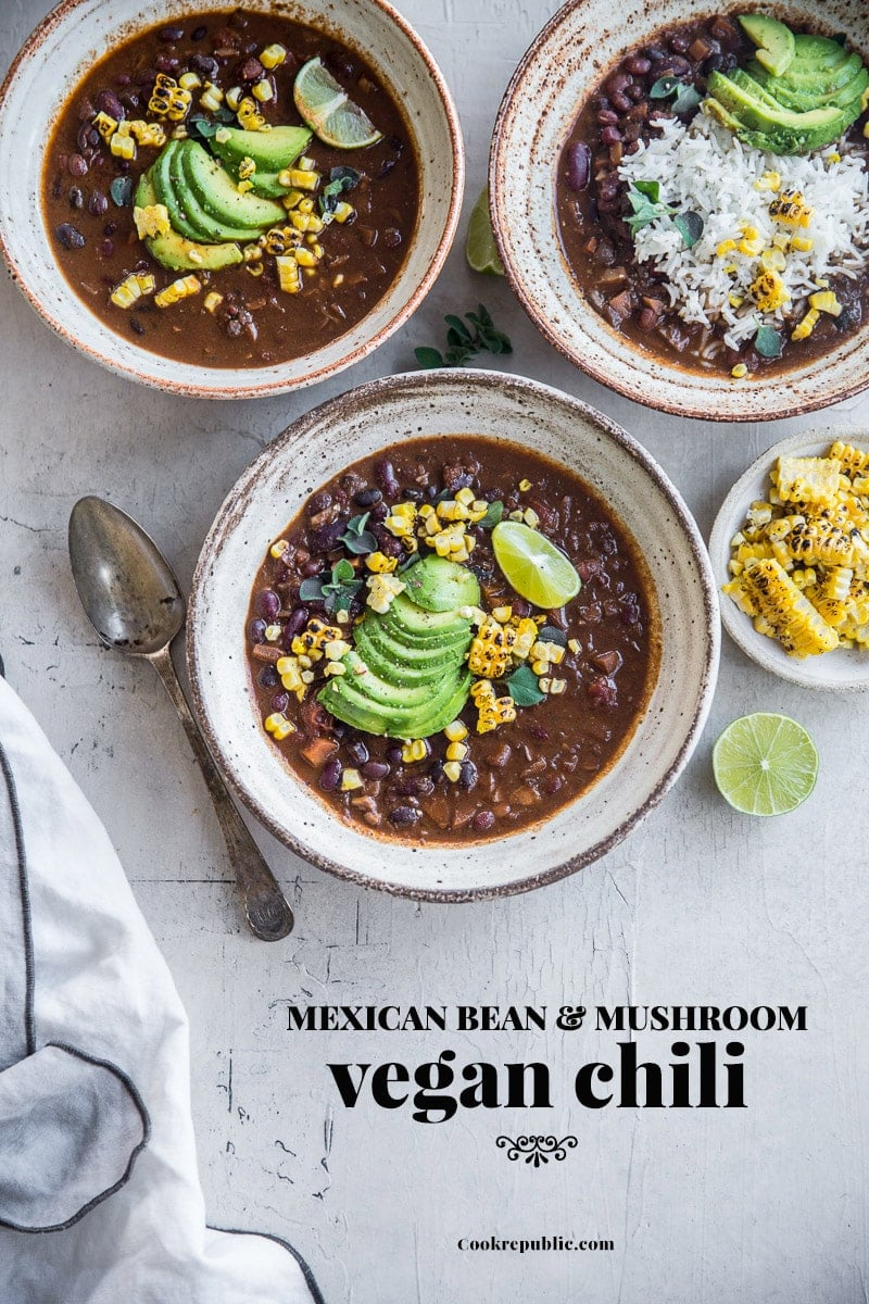 Mexican Bean And Mushroom Vegan Chilli - Cook Republic