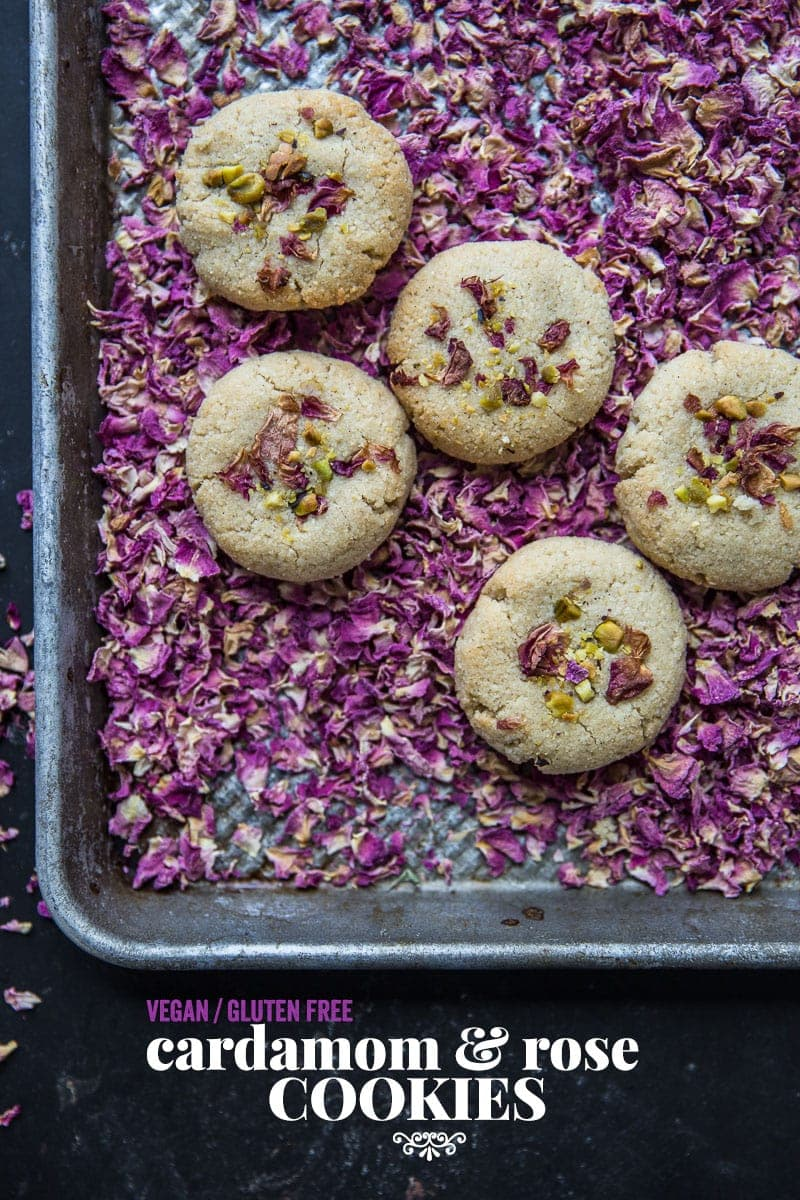 8 Ingredient Vegan Cardamom And Rose Cookies - Cook Republic #vegan #glutenfree #cookies #foodstyling #foodphotography