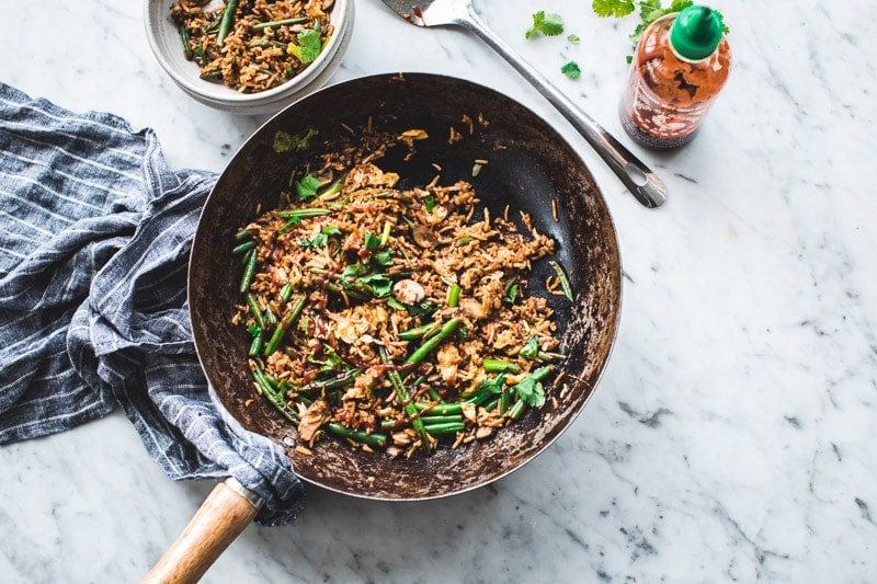 10 Minute Bean And Mushroom Fried Rice - Cook Republic #healthylunch #glutenfree