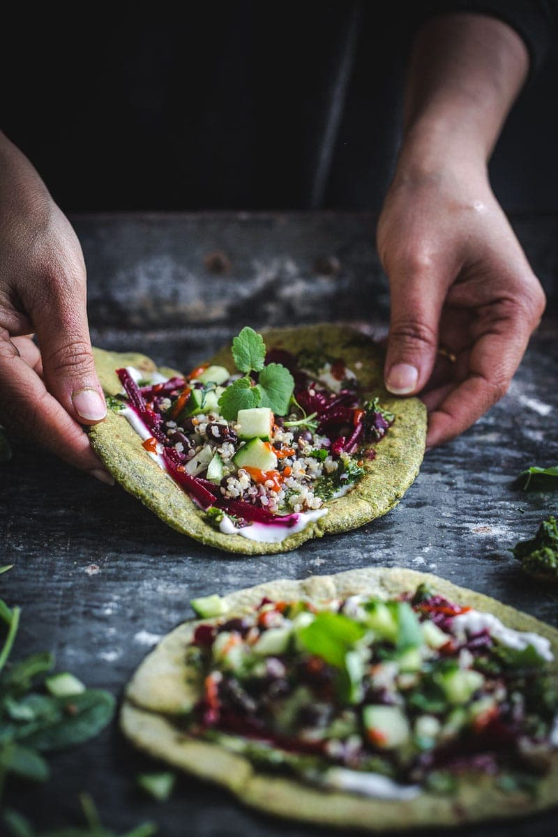 Green Garlic Spinach Flatbreads - Cook Republic #vegan #healthyrecipe #sodastream