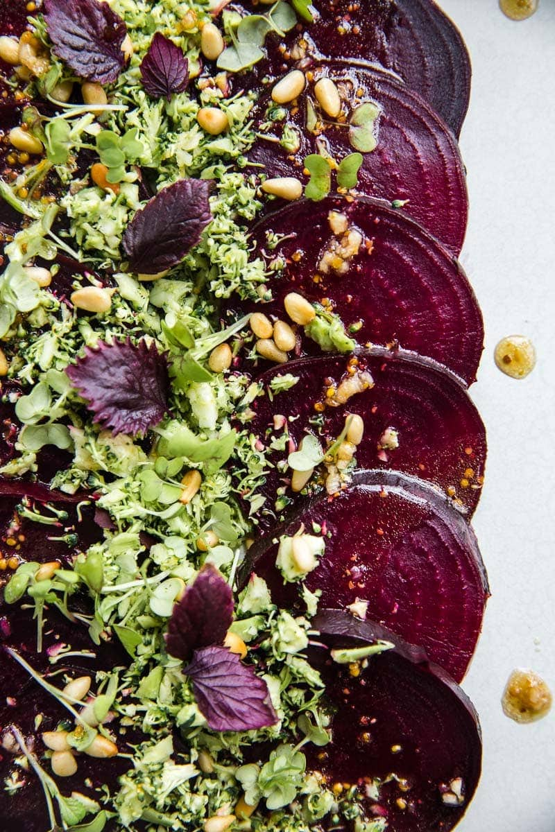 Vegan Beetroot Carpaccio With Zesty Broccoli Crumb - Cook Republic #vegan #easyrecipe #heathyrecipe #glutenfree #beetroot