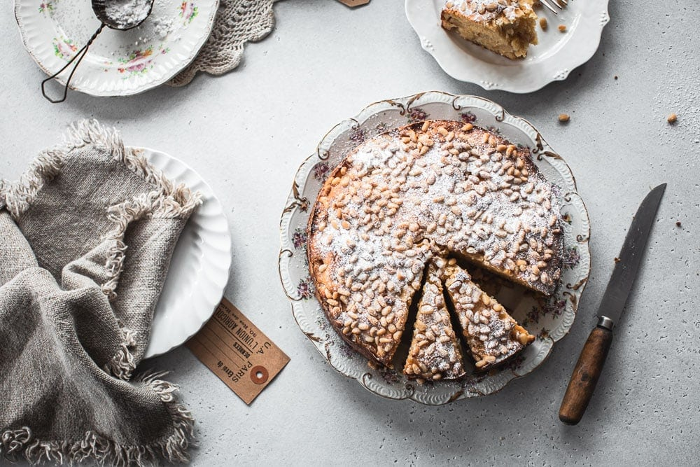 Apple Pine Nut Ricotta Cake - Cook Republic #ricottacake #italiancake #applecake #bakingrecipe