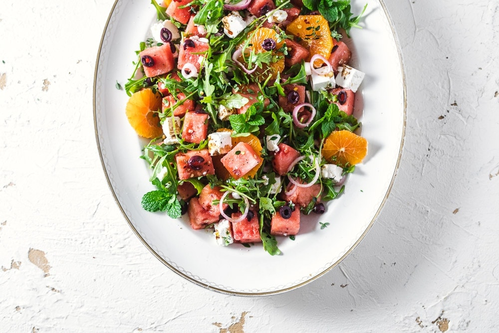 Watermelon Feta Salad With Pickled Shallots - Cook Republic #watermelonsalad #glutenfree #saladrecipe