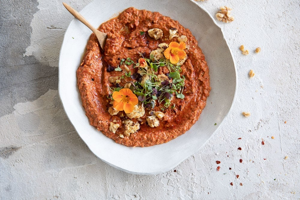 Red Capsicum Walnut Dip (Muhammara) With Roast Cauliflower - Cook Republic