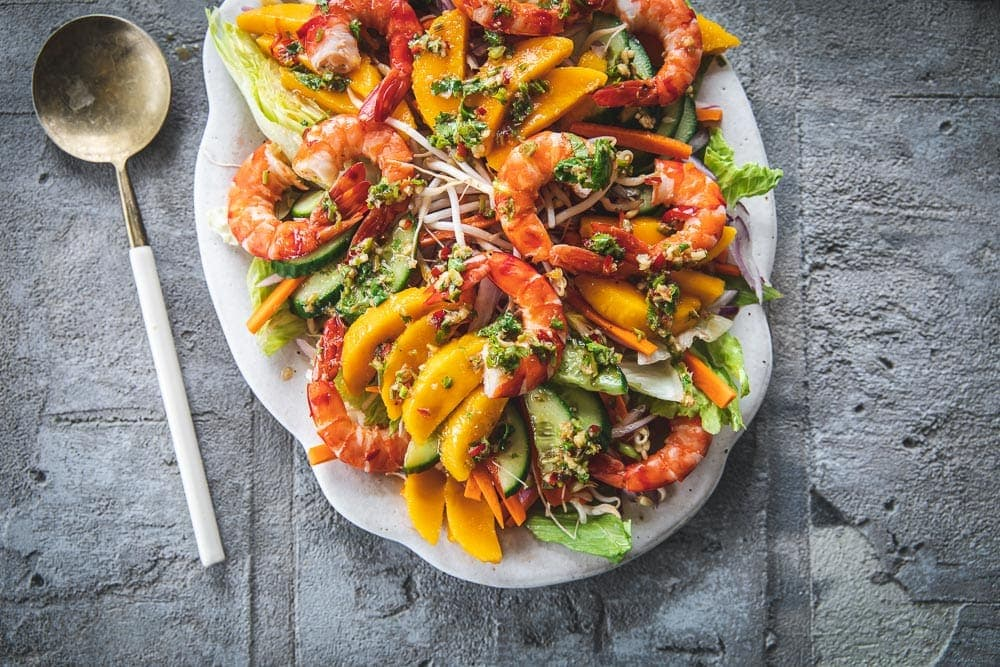 Thai Prawn And Mango Salad - Cook Republic #thaisalad #glutenfreesalad #prawnmango